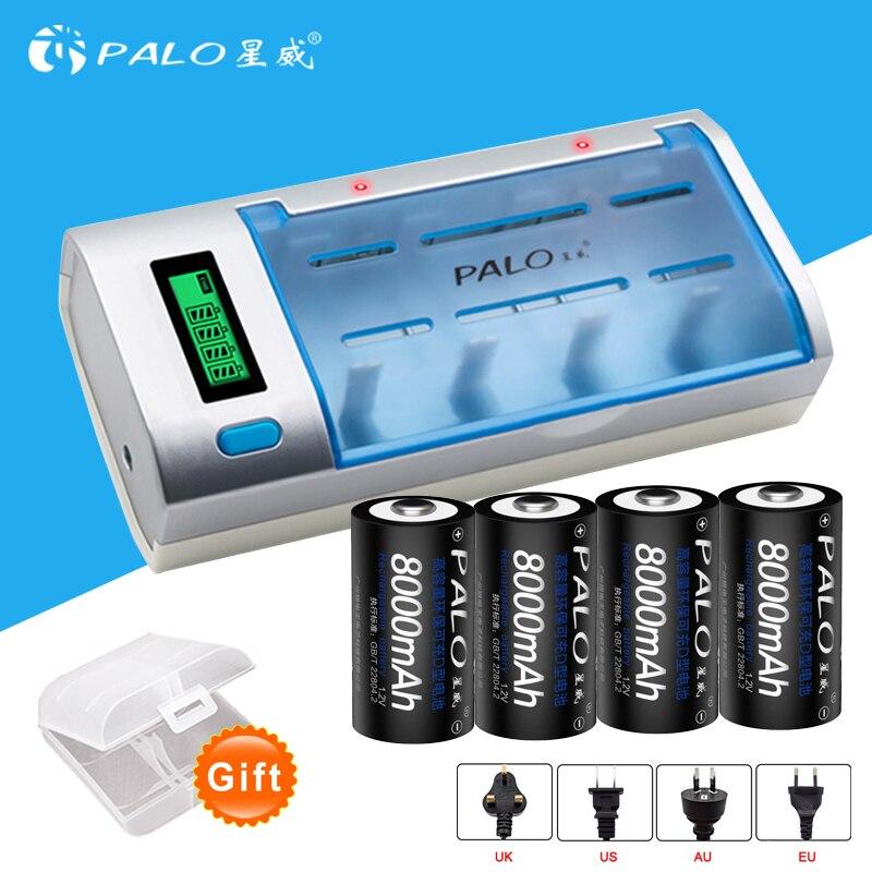 PALO ÉCRAN LCD chargeur de batterie pour AA/AAA/SC/C/D/9 V batterie + 4 pièces nimh 8000 mah rechargeable D batterie