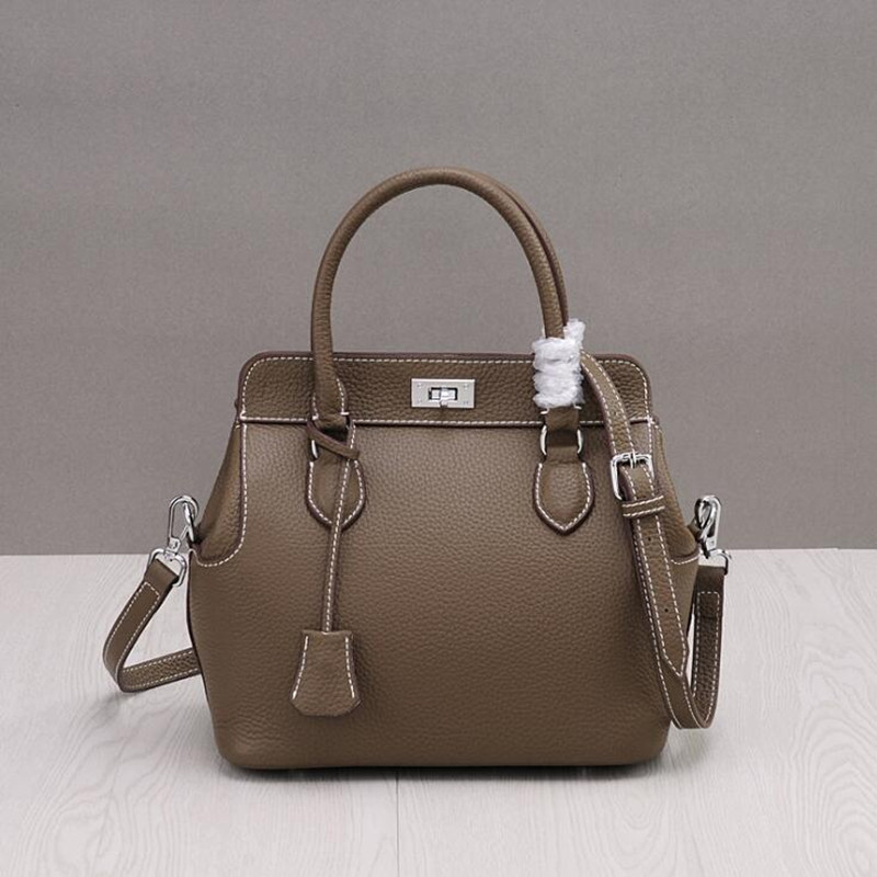 Fashion Real Genuine Leather OL Style Women Litchi Grain Handbag Tote Bag Ladies Shoulder Bags Girl Casual Bag New Arrival