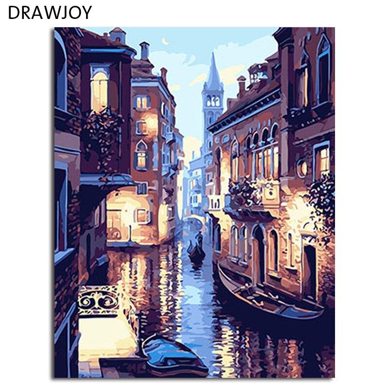 DRAWJOY Gerahmte Venedig Landschaft DIY Malerei Durch Zahlen Malerei & Kalligraphie DIY Digitale Oi Malerei Durch Zahlen Wohnkultur