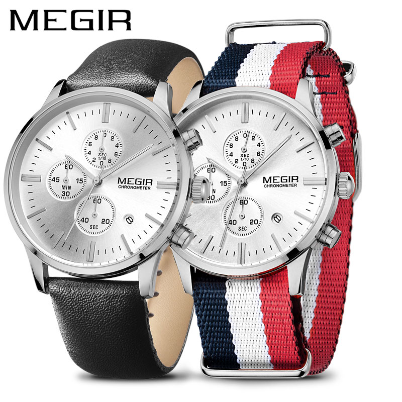 MEGIR Men s Sport Watches Fashion Causal Couple Chronograph Watch Man Hour Set Quartz Wristwatch Reloj
