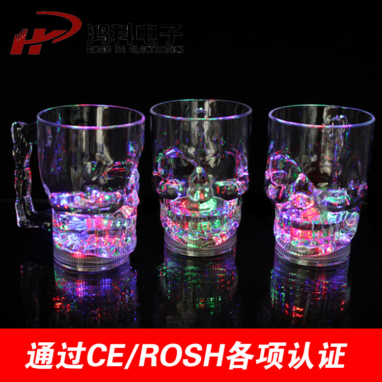LED luminous glass water induction colorful skull <font><b>cup</b></font> into the water that bright color luminous <font><b>cup</b></font> <font><b>cup</b></font>