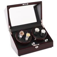 Luxury Gift Wooden Glossy 4 Grids Watch Winder Box for Watches Shop Display Rotate Watch Case