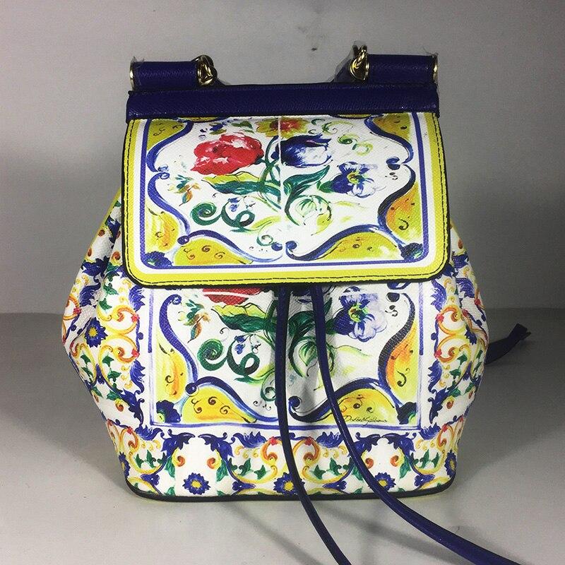 Rome Style Vintage en cuir véritable fait à la main fleur Prince princesse Designer femmes cordon sacs à dos dames Floral sac à dos
