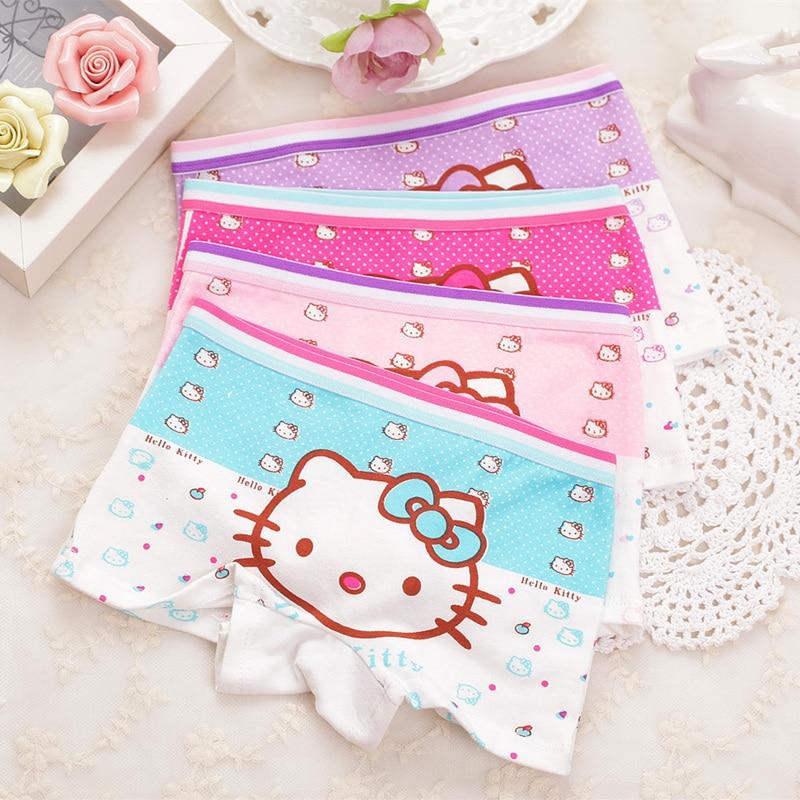 4pcs/Lot Children Girls  Cat Underwear Kids Fashion Character Boxer Brief Infant Baby Girl Panties Ropa Interior Ninos
