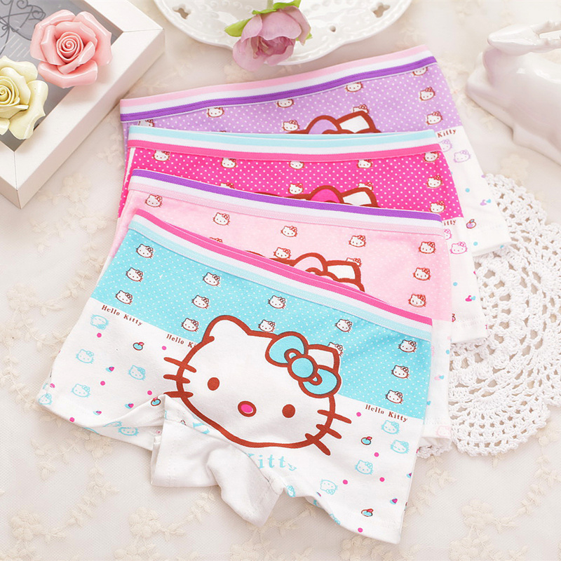 4pcs/Lot Children Girls  Cat Underwear Kids Fashion Character Boxer Brief Infant Baby Girl Panties Ropa Interior Ninos