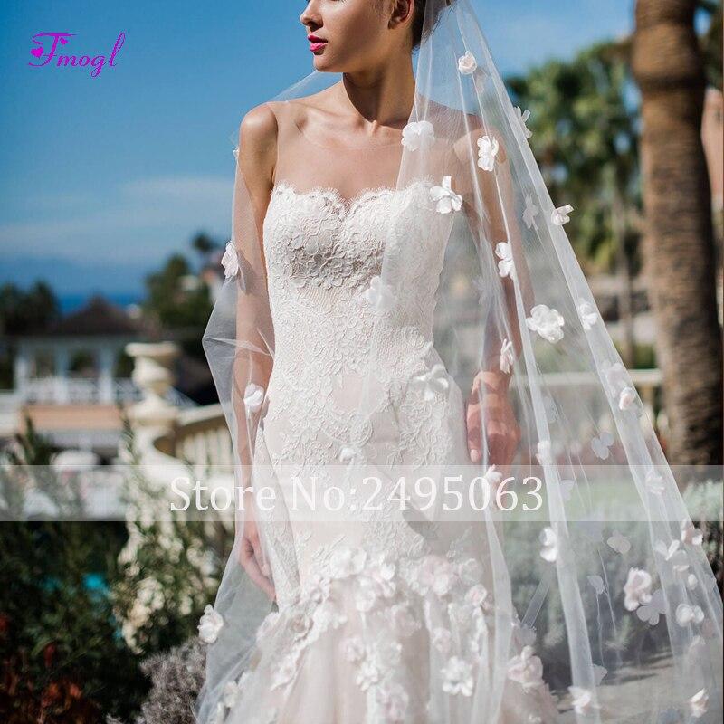 Fmogl charmante bretelles Appliques robe de mariée sirène 2019 fleurs gracieuses dentelle princesse trompette robe de mariée robe de Noiva - 6