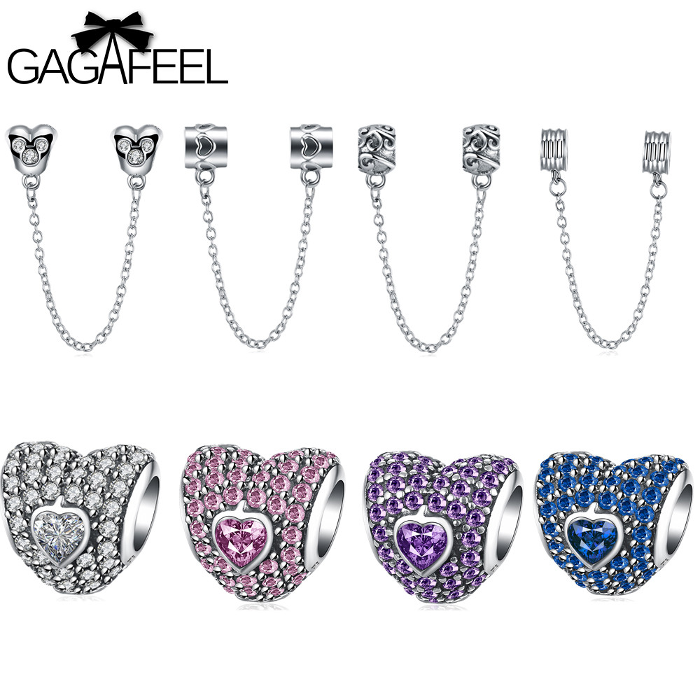 GAGAFEEL DIY Beads 925 Sterling Silver Jewelry Charms Safety Chain Fit Pandora Bracelet Bangle Necklace Diy
