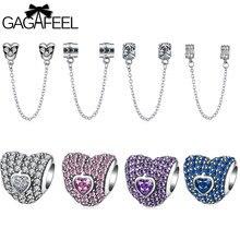 Gagafeel diy perlas 925 joyería de plata esterlina encantos de seguridad fit pandora pulsera brazalete collar de accesorios de bricolaje niñas regalo