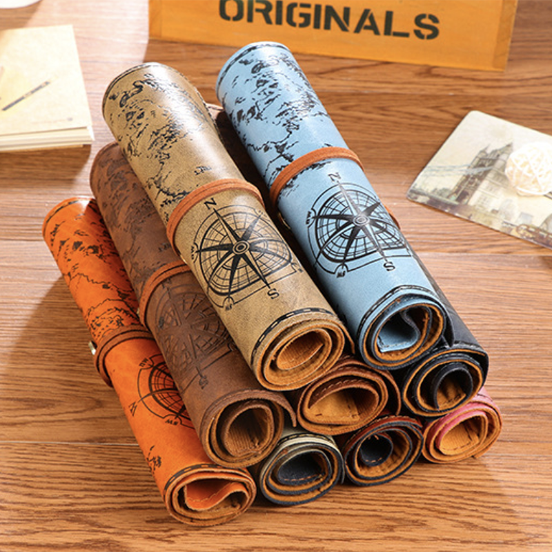 Vintage Pirate Roll Imitation Leather Pencil Case Treasure Map Pen Pencil Bag Gift Creative Stationery Office School Supplies