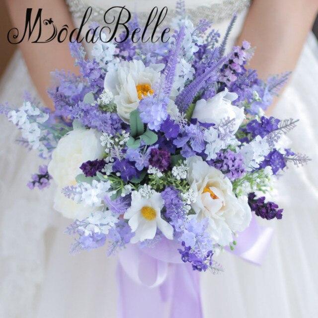 Modabelle Benutzerdefinierte Weiss Lavendel Blumen Kunstliche