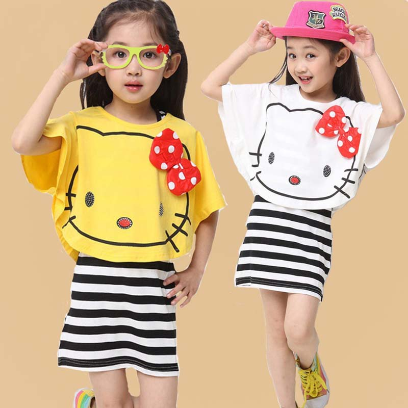 Baby girl clothes summer hello kitty short T shirt striped dresses two pieces children clothing set 4~13 kids