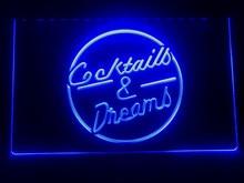 I079 cocktails & sonho cerveja bar vinho led sinal de luz de néon
