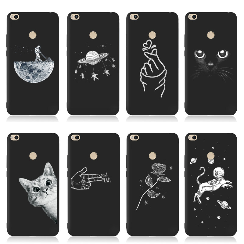 QAQsam Soft TPU Silicone For Xiaomi Redmi 4 4A 4X Case Back Cover For Xiaomi Redmi 3S 5 5A 6 6A Plus Cases Flower Cat Moon(China)