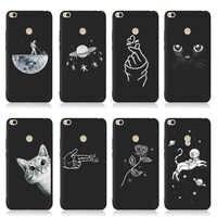 QAQsam Soft TPU Silicone For Xiaomi Redmi 4 4A 4X Case Back Cover For Xiaomi Redmi 3S 5 5A 6 6A Plus Cases Flower Cat Moon