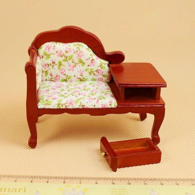 G05-X062 çocuk bebek hediye Oyuncak 1:12 Dollhouse mini Mobilya Minyatür bebek ahşap kahve kanepe sandalye 1 adet