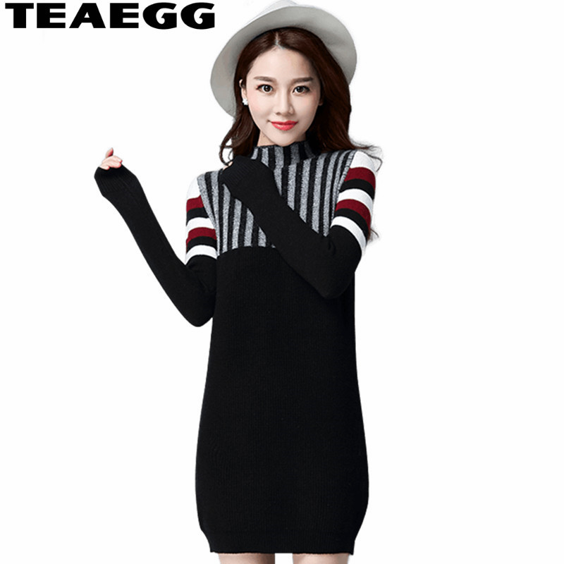 TEAEGG Womens Dresses New Arrival 2017 Knitted Black Dress Winter Clothes Mini Sweater Ladies Dresses Large Sizes Robe AL477 calvin klein new black white colorblock womens size large l crewneck sweater $79