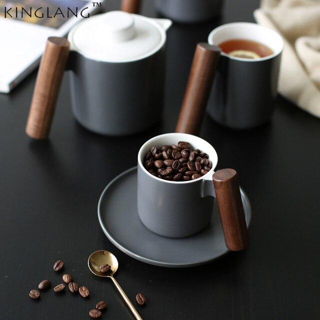 High Quality Elegant Cool Ceramic Mug Solid Wooden Handle