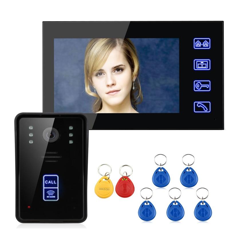 """7 """"RFID Video Dørtelefon Intercom Dørklokke Touch-knap Fjernlåsning af natvision"""