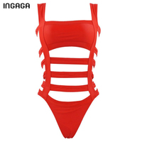 INGAGA 2016 New One Piece Swimwear Swimsuit Maillot De Bain Bandage Sexy Hollow Monokini Beach Swim