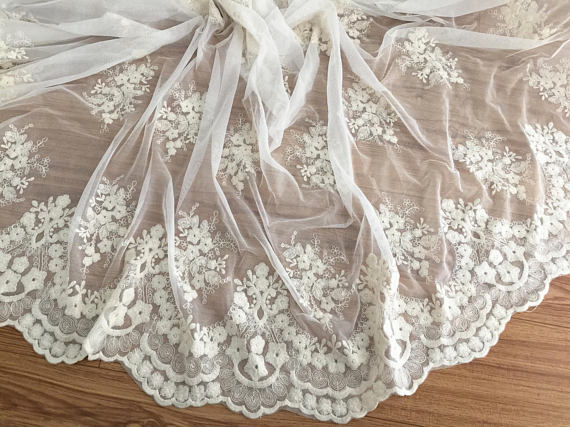 Cotton Wedding Gown: Vintage Style Cream Floral Embroidery Scalloped Cotton