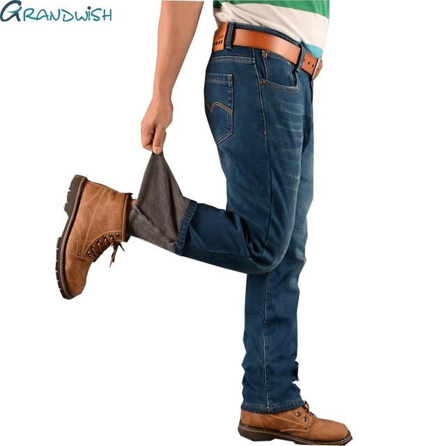 Grandwish Más El Tamaño 48 de Los Hombres pantalones de Mezclilla de Lana de Invierno Cálido Pantalones Vaqueros de terciopelo Grueso de Mezclilla de Gran Tamaño Pantalones Vaqueros Holgados Pantalones de Los Hombres, PA809