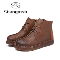 Shangmsh Print Ankle Women Boots Genuine Leather Retro Handmade Shoes Comforable Shoes Footwear Women Flats Plus