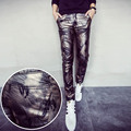 2016The New Men's Pants Military camouflage style casual fashion personality Slim leather pants tight punk Multi-style