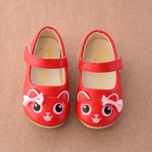 2017 Children Casual Shoes PU Leater Cartoon Cat Bow Princess Party Flats Girls Single Shoes Loafers sapato infantil