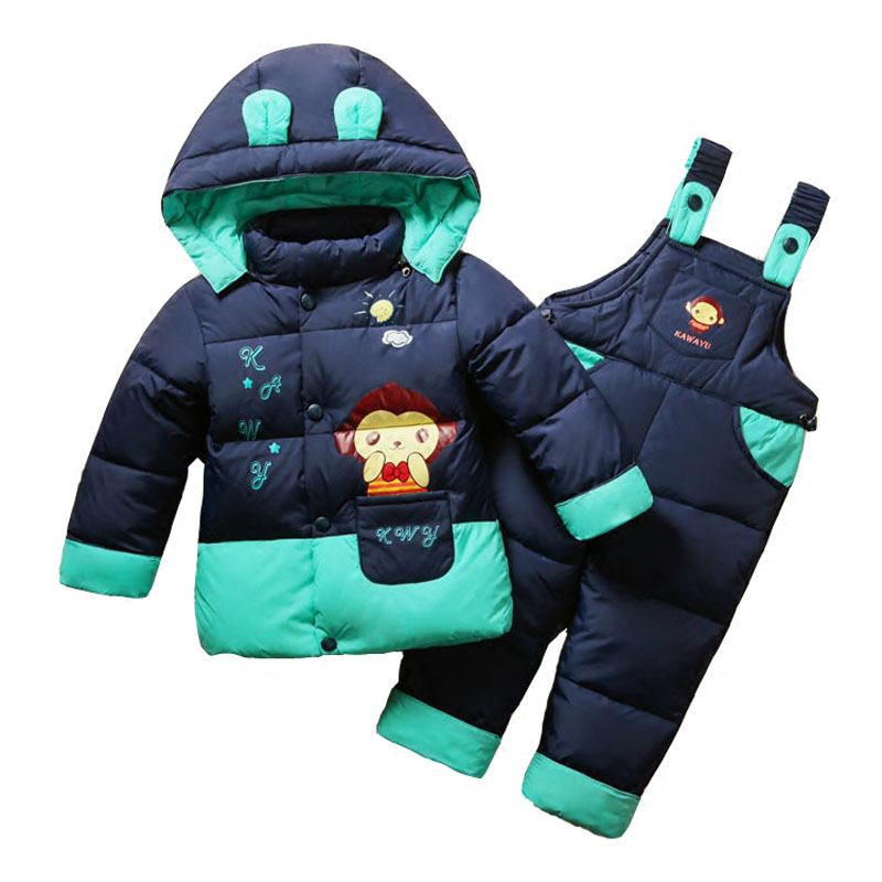 2017 Russia Kids Winter Children Baby Snow Suits Down Jacket Overalls For Girls Thick Duck Down Kids Outerwear -20 degree Warm kids ski suits snow suits for girls children boys snowsuit down cotton jacket winter overalls child winter thicken clothing