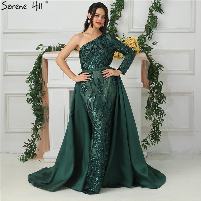 Green One Shoulder Long Sleeves Sequeined   Evening     Dresses   Luxury Fashion Sexy With Train   Evening   Gowns 2019 Serene Hill LA6619