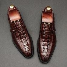 OMDE Genuine Leather Alligato Pattern Mens Dress Shoes Buckle Strap Banquet And Wedding Slip On Formal