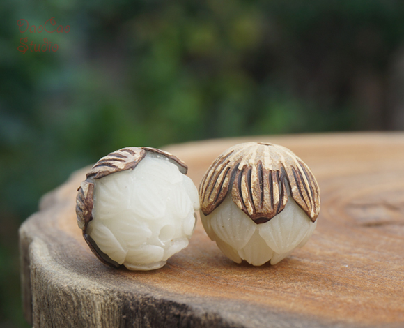 Natural Bodhi Seed Beads Carved Lotus with skin White Mala Japa Beads Bracelet Jewellry Findings DIY Accessories