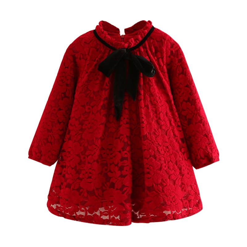 Mudkingdom Girls Winter Lace Dress Kids Thermal Turtleneck With Ribbon Bow Velvet Lined Red Dresses School Baby Girl Clothes