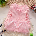 2015 Autumn Cotton Blended Baby Girls Children Kid's Long Sleeve Princess Lace Bow Outwear Coat Jackets Cardigan Coats  S1888