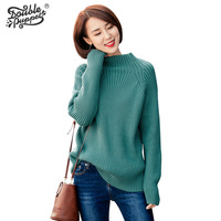 Double Puppet 2016 New Winter Front And Back Two Wear Core Spun Yarn Solid Knitting Sweaters