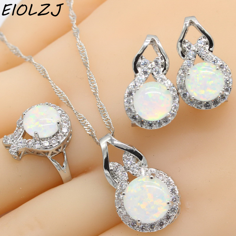 925 Sterling Silver Jewelry Sets For Women Geometric White Opal Necklace Pendant Clip Earrings Choker Ring Gift Box Free Ship charming multilayered geometric choker necklace for women