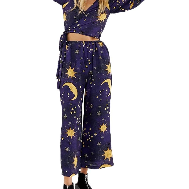 Summer   pants   women 2019 casual printing womens clothing   wide     leg     pants   high waist   pants   trousers women