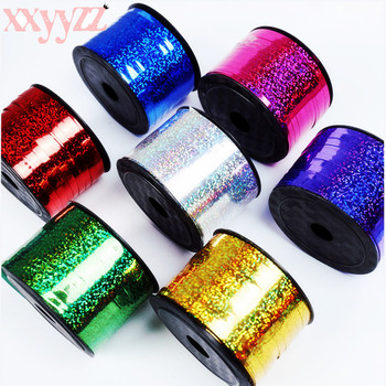 XXYYZZ New 0.5cm*100m Prism Hoop Holographic Tape For Gift Packing Adhesive Laser Tape Balloon Ribbon Gold Glitter Balloon