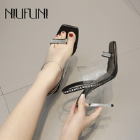 Summer New Arrivals Square Head High Heel Transparent Plastic Rhinestone Sandals Stitching Letters Solid Color Women's Shoes