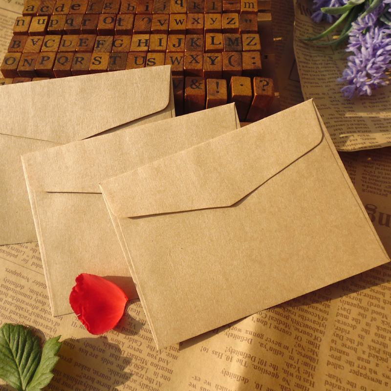 300pcs Wholesale 10x7.5cm Vintage Blank Kraft Paper Envelope ,Plain Kraft Gift Small Paper Bag for Party Messaage Card