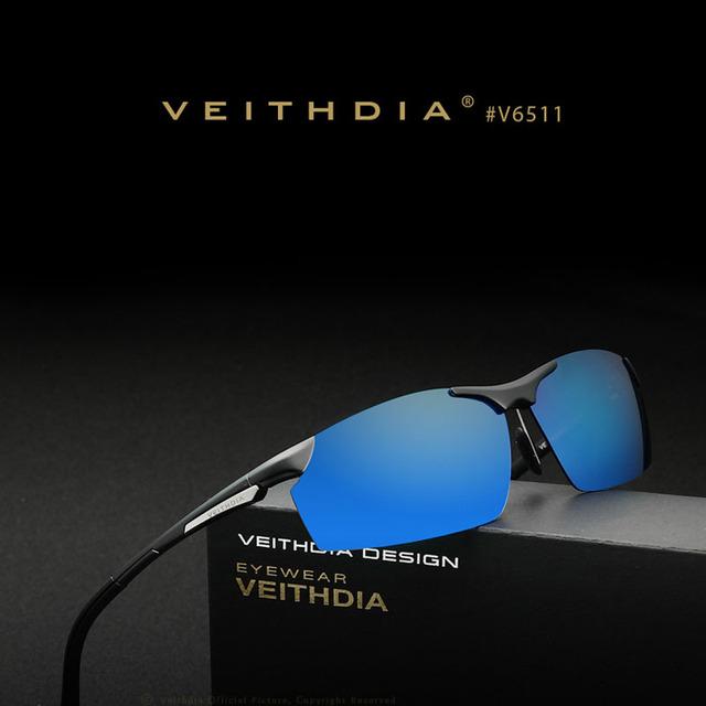 VEITHDIA ÓCULOS de Esportes Óculos De Sol Dos Homens Polarizados Óculos De Sol De Alumínio E Magnésio Quadro Óculos Masculino Óculos de Condução Óculos de Sol oculos 6511