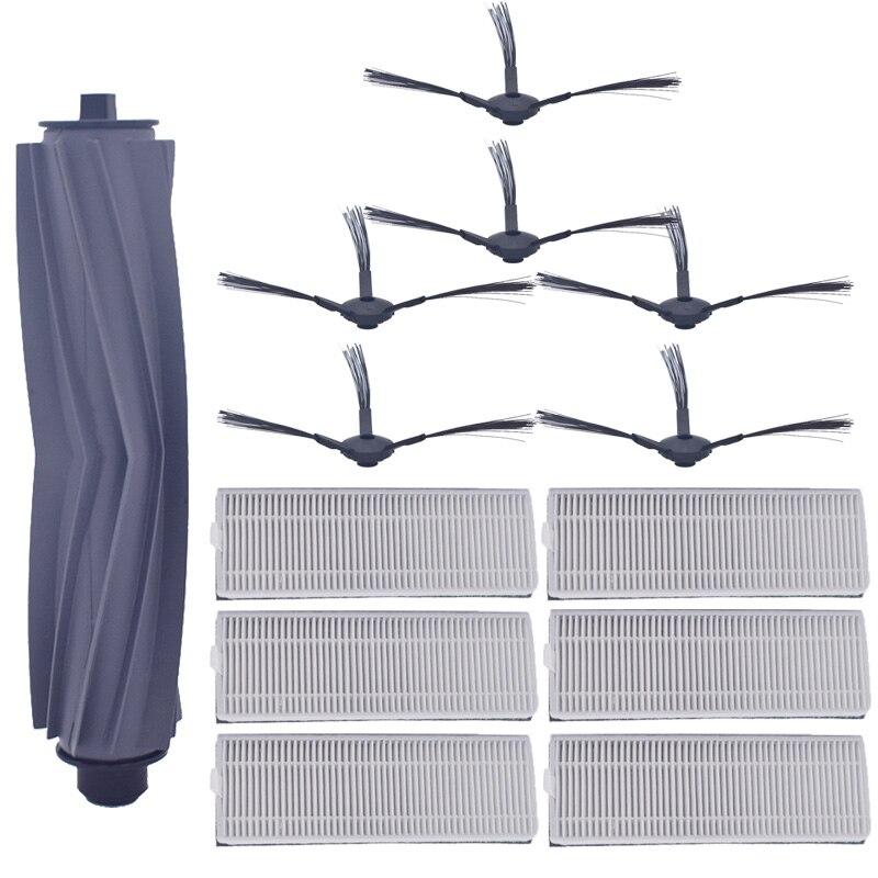 1 * escova principal + 6 * Par (preto + branco) filtro HEPA + 6 * escova Lateral ILIFE A8 A6 robot vacuum cleaner acessórios ilife a8