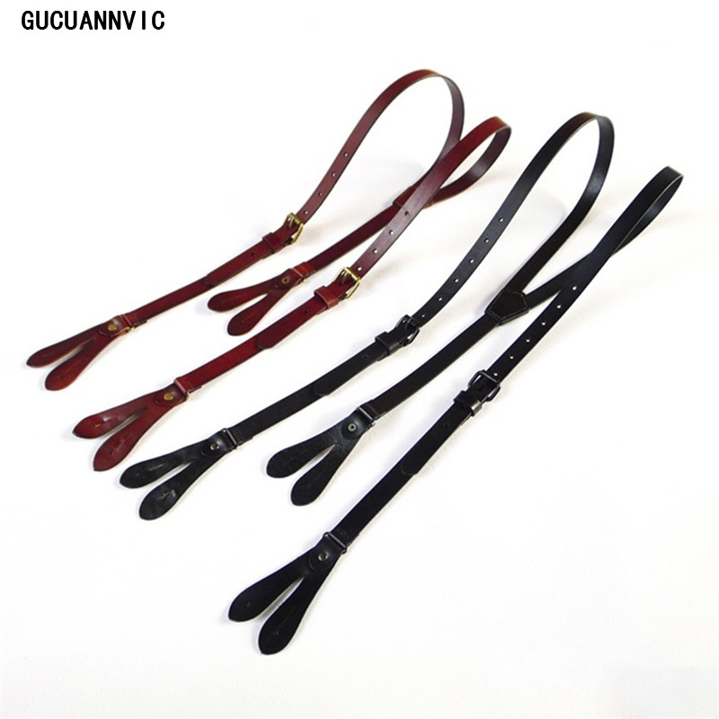 GUCUANNVIC suspender  leather head layer material of high quality button suspenders Brown black condole belt of England