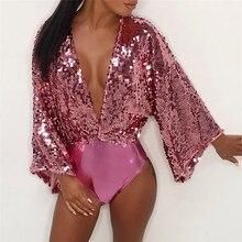 MAXIORILL женский сексуальный комбинезон большого размера с блестками, длинным рукавом и v-образным вырезом, Свободный комбинезон, Прямая поставка, femme body mujer Y