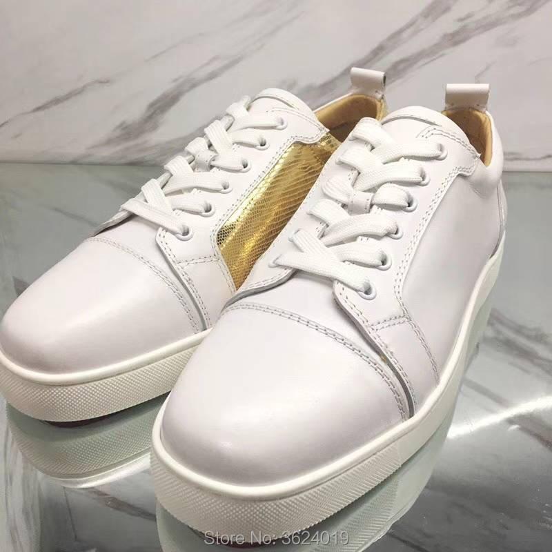 2018 Dentelle Clandgz En Golden Mixte Avec Couleurs Rouge up Date Fond Haute Mâle Sneakers Cuir De Qualité Blanc Mocassins Chaussures ZrqURrYxw