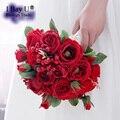 2017 Новое Прибытие Свадебные Цветы Свадебные Букеты Красный Искусственный Роуз Роскошные Красная Роза Букет Свадебный Bling Невесты Рамо Де Novia