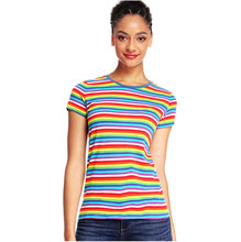 Rainbow Striped T Shirts for Women Tees Round Neck Short Sleeve Colorful Stripes Casual