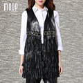 Black genuine leather vest 100%lambskin leather trench coat fringed beads decor veste femme chalecos mujer colete gilet LT865