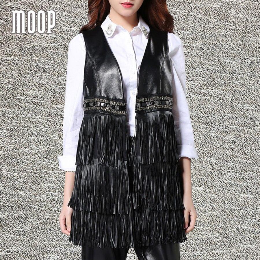 Preto colete de couro 100% da pele de carneiro casaco de couro genuíno  franjas contas decoração veste femme gilet colete chalecos mujer LT865 69e8d624320af