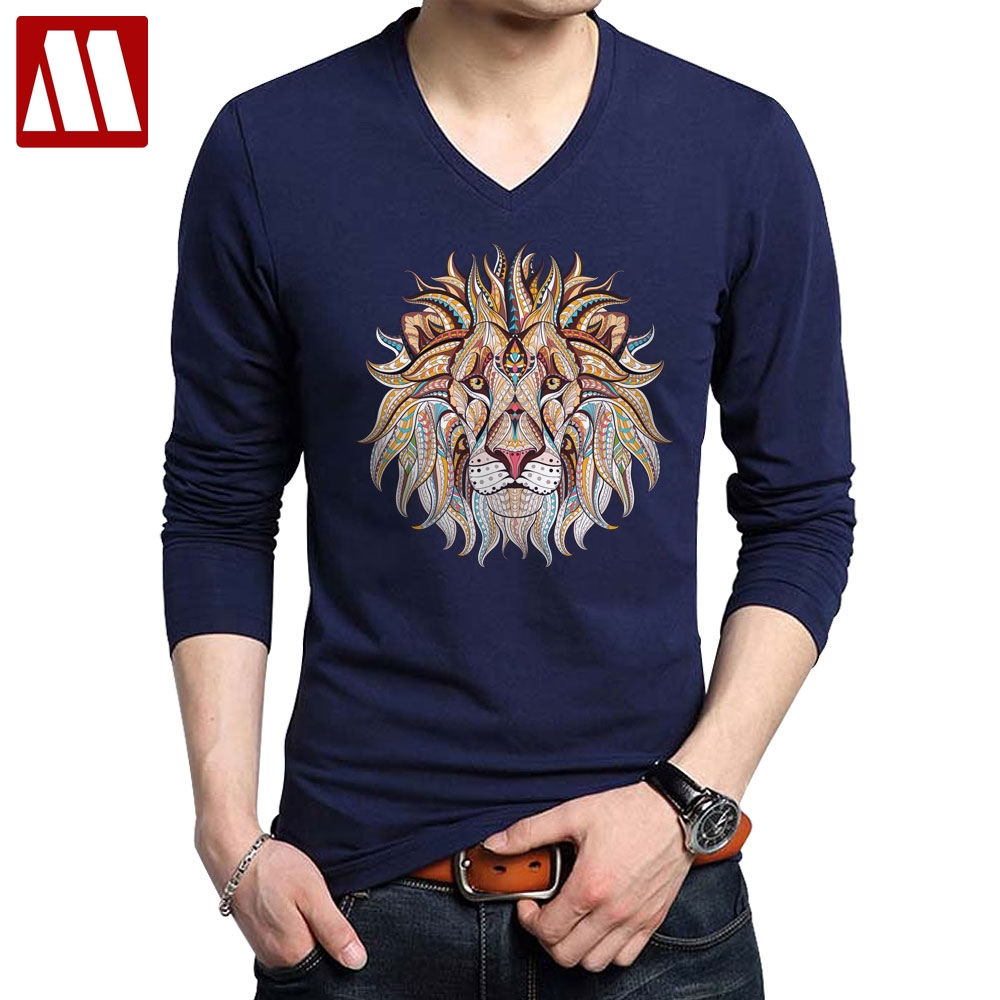 US $7.88 40% OFF|2019 Fashion Cool Lion Design Cotton Long Sleeve Printed Men T shirts Casual V Neck Knitted Mens tshirt men's tops tee shirts in